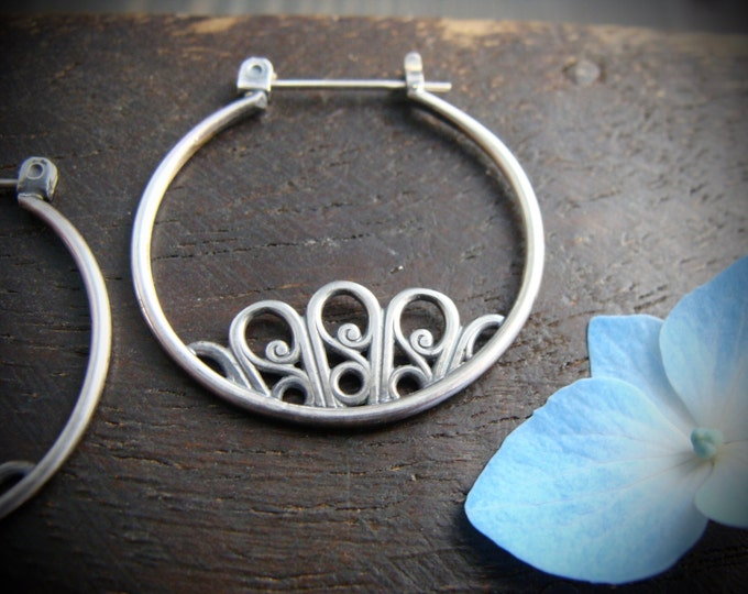 floret ... sterling silver hoops, handmade jewelry, filigree earrings, gifts for her