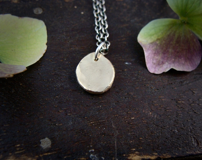 solid 14k golden pebble … recycled 14k gold pendant, layering necklaces, gifts for her, handmade jewelry