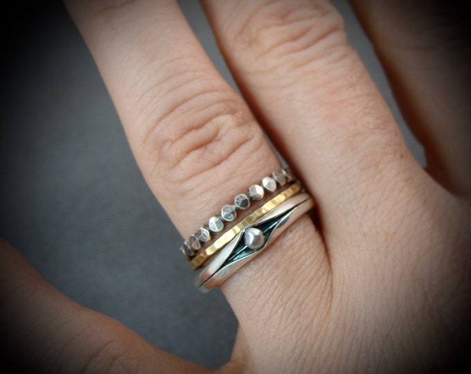 princess and the pea .. sterling silver stack ring, pearl ring