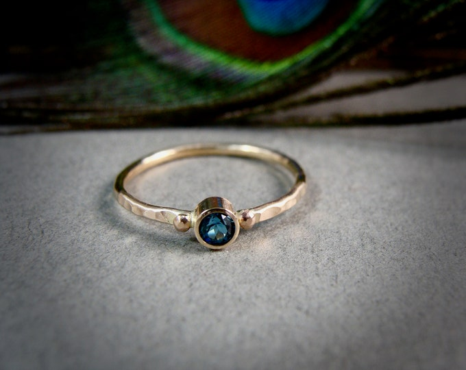 tiny water spirit ... solid 14k gold London blue topaz stack ring, gifts for her, petite gold ring, December Birthstone