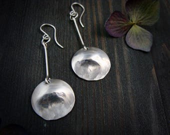 drawing down the moon ... sterling disc dangles, long silver earrings, handmade jewelry, gifts for her