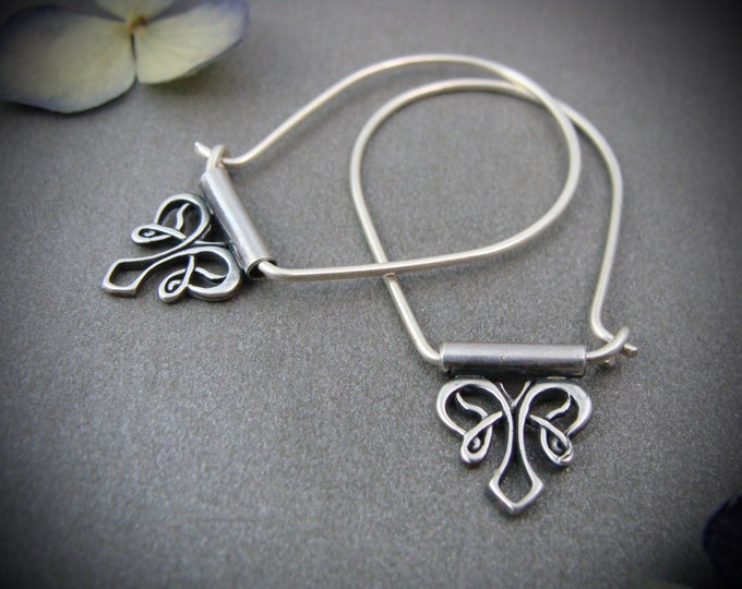 nouveau style .. sterling silver hoops, handmade jewelry, gifts for her