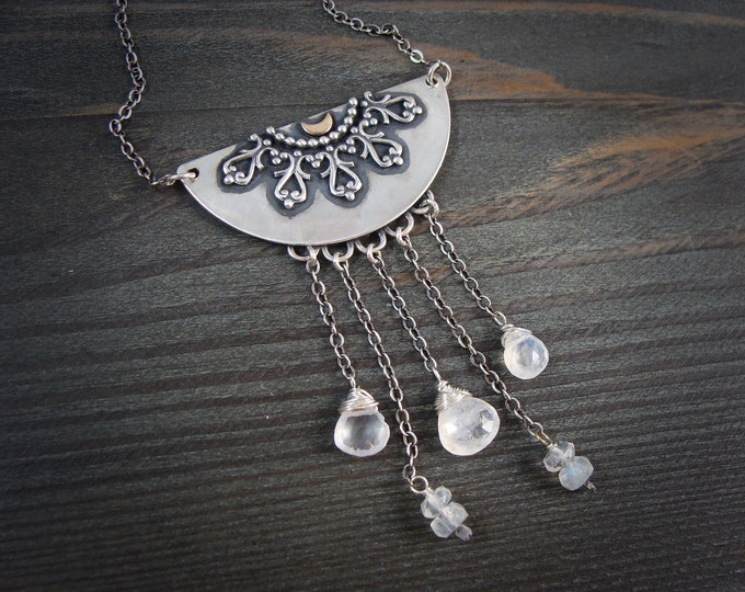 Lady of the mist ... moonstone and sterling silver necklace, artisan jewelry, handmade jewelry, gifts for her