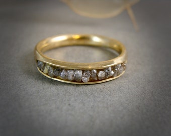 raw champaign diamond ring .. solid 18k gold