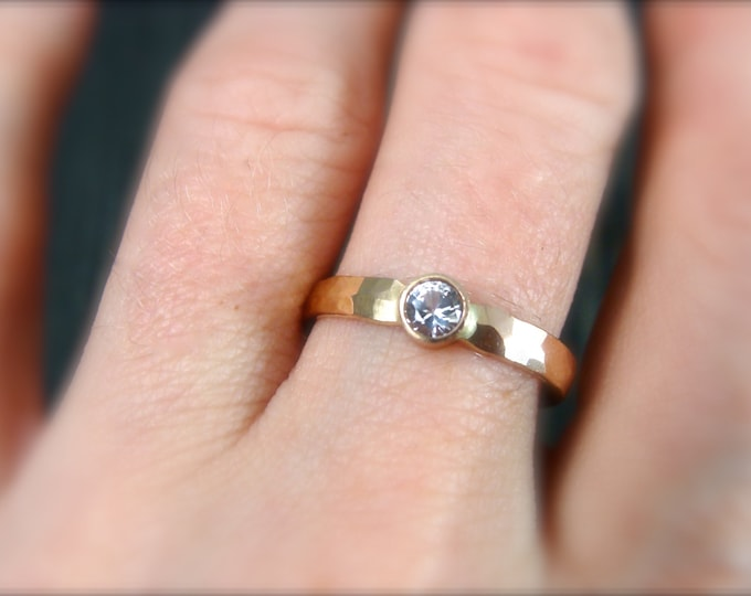 white sapphire reflection ring... 14k gold and sapphire ring, hammered gold ring, sapphire ring