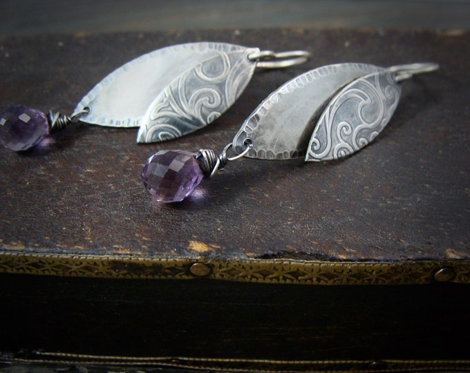 lavender dangles.... Silver and amethyst earrings, gifts for her, handmade jewelry,