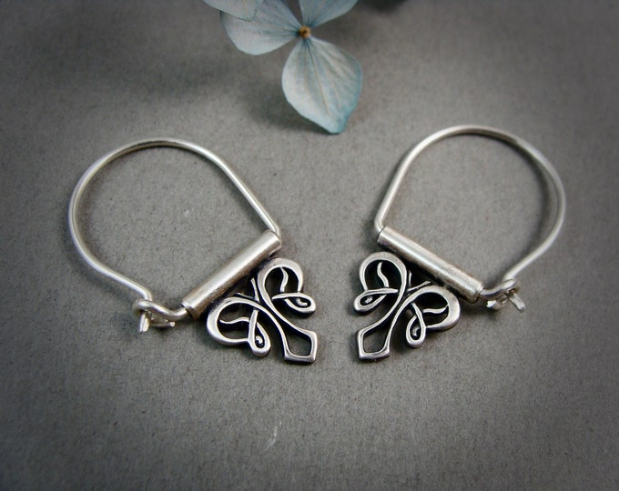 petite nouveau style .. sterling silver hoops, handmade jewelry, gifts for her