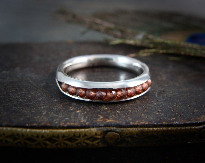 red garnet …. gemstone and silver stack ring, band ring, silver ring, gifts for her, garnet ring