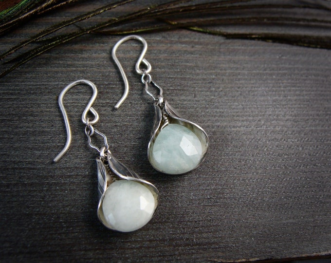 lily bells ... aquamarine dangles.. Silver earrings, gifts for her, handmade jewelry,