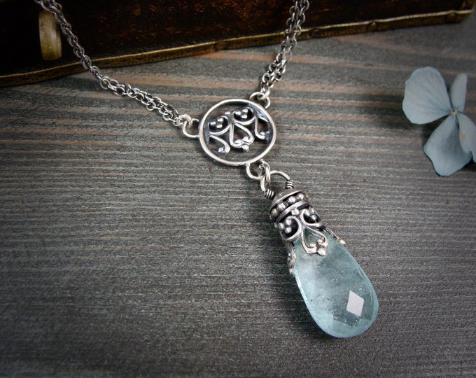 Undine ... aquamarine necklace, aquamarine pendant, silversmith jewelry, handmade jewelry, March birthstone jewelry, gifts for her