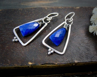 lapis pyramid ... sterling silver and lapis dangles, handmade jewelry, silver dangles, gifts for her