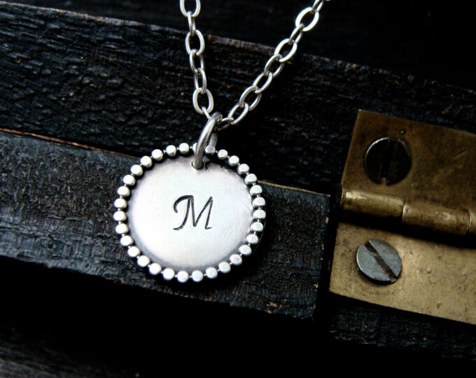 personalized initial pendant ... sterling silver pendant, layering pendants, gifts for her
