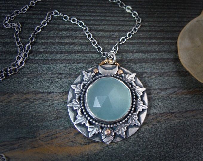 ice flower … chalcedony pendant, silversmith jewelry, gifts for her