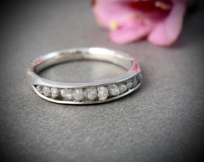 raw diamonds in palladium silver, raw diamond band ring, raw diamond stack ring, conflict free diamond ring