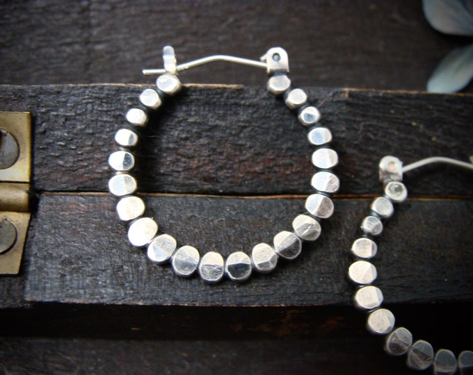 caterpillar hoops... sterling silver hoops, small silver hoops, oxidized hoops, small bead hoops, hammered hoops, gifts for her