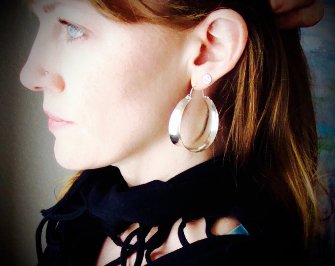 large saddle ... sterling silver hoops, wide silver hoops, handmade jewelry, lightweight hoops, gifts for her