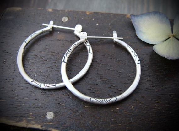 small journey... sterling silver hoops, small hoops, imprinted jewelry, one inch hoops, everyday earrings, stamped hoops, gifts for her