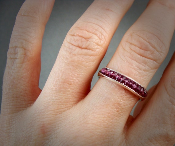 Rhodolite garnet stacking ring …. gemstone stack ring, birthstone ring, sterling ring, gifts for her, handmade ring, rings for women