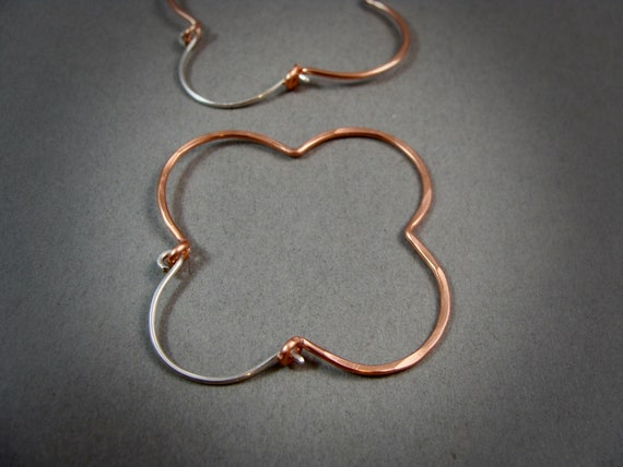 gothic copper... copper and sterling hoops, clover hoops, gifts for her
