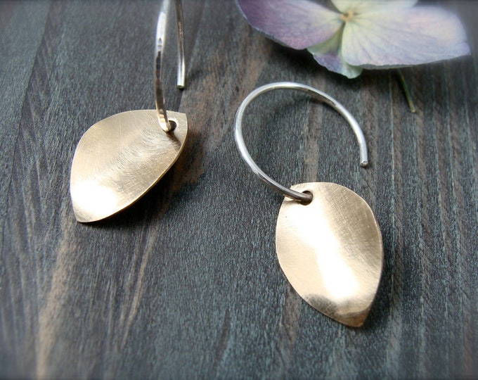 golden petal ... mixed metal earring, sterling and gold filled dangles, botanical jewelry, simple hoops, petal earrings, gifts for her