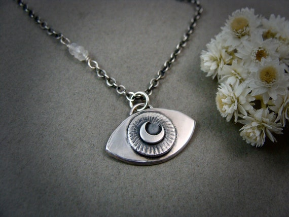 protection … sterling silver evil eye pendant, protection amulet, layering necklaces, small pendants, witchy jewelry, gifts for her