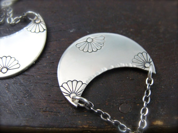 journey ... sterling silver dangles, imprinted jewelry, crescent earrings, gifts for her
