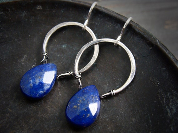 lapis lazuli dangles.. sterling hoops, gemstone earrings, lapis jewelry, lapis earrings, gifts for her