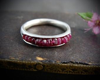 ruby stacking ring... July birthstone ring, gemstone stack ring, ruby ring, birthstone rings, handmade ring, sterling stacking ring
