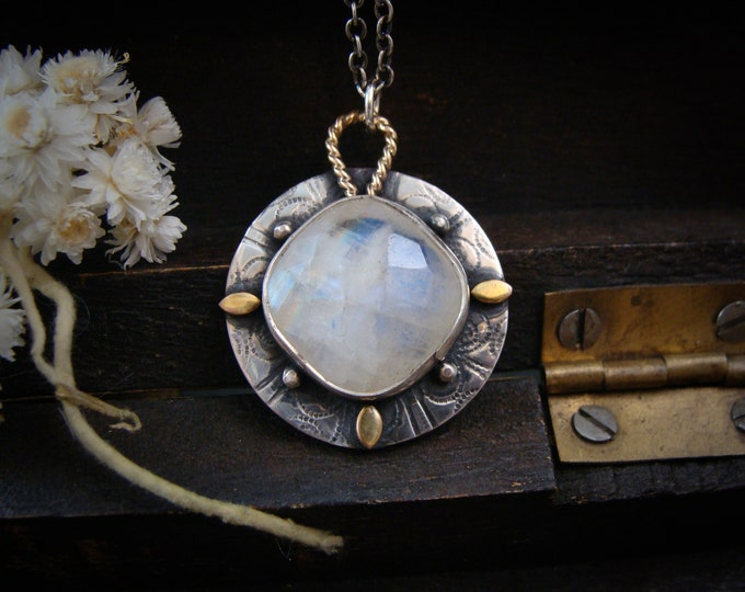 lunar compass ... moonstone pendant, mixed metal pendant, rainbow moonstone jewelry, silver pendant, silversmith jewelry, gifts for her