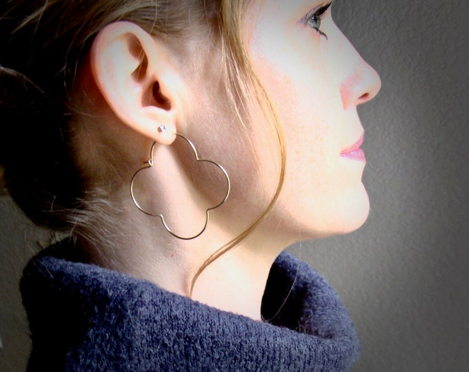 large golden gothic hoops... 14k gold filled hoops, clover hoops, quatrefoil hoops, gold hoops, large hoops, unique jewelry, gifts for her