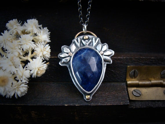 Maeve ... sterling silver and sodalite pendant, silversmith jewelry, handmade jewelry, siren jewels, mixed metal pendant, gifts for her