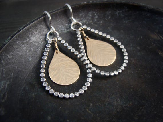 sun & earth … mixed metal teardrop dangles, handmade jewelry, gifts for her