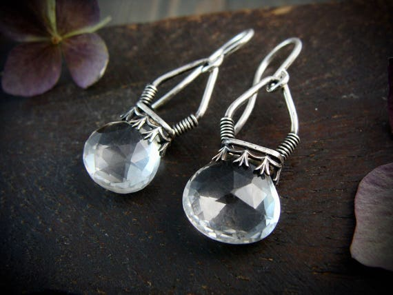 quartz crystal lanterns ... gemstone earrings, sterling silver dangles, quartz earrings, 925, handmade jewelry, gifts for her