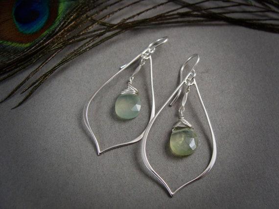 prehnite petal hoops.. gemstone hoop earrings, sterling silver dangles, prehnite earrings, gifts for women, gifts for her