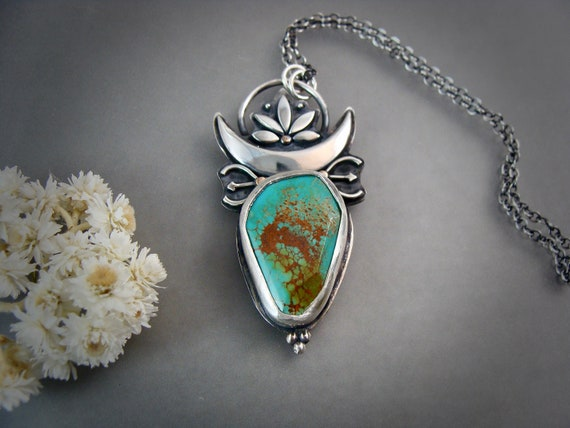 cinnamon girl ... handmade turquoise and sterling silver pendant, statement piece, silversmith jewelry, gifts for her