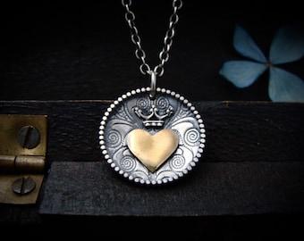 keep it safe ...mixed metal heart pendant, sterling silver heart pendant, gold heart pendant, heart crown pendant, handmade jewelry, gifts