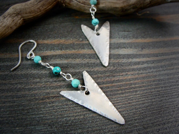 arrow ... sterling silver turquoise dangles, handmade jewelry, arrowhead jewelry, boho jewelry ,gifts for her