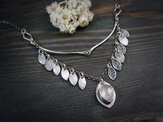 forest stipule ... sterling silver and prehnite necklace, handmade jewelry, gifts for her