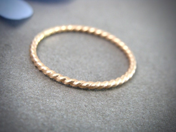 golden rope ... petite solid 14k gold stack ring, gold twist ring, 1 mm solid 14k gold stack ring, solid gold stacking ring, gifts for her