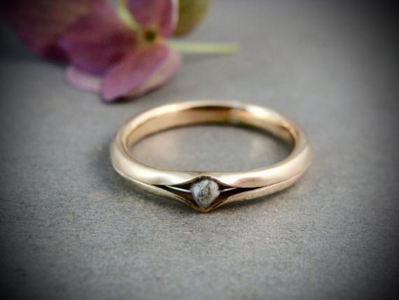raw diamond princess and the pea ring .. solid 14k gold ring, band ring, raw diamond ring, gifts for her