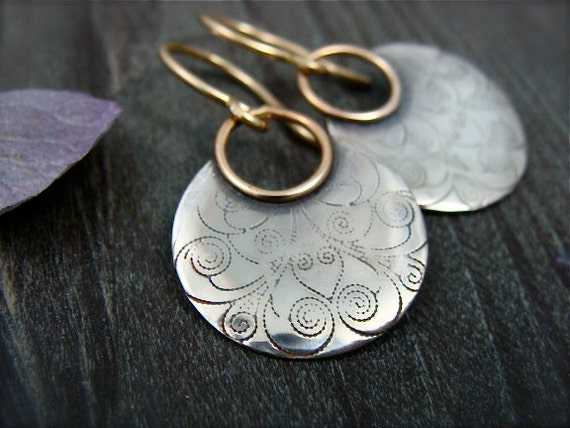 printed moon ... mixed metal earrings, patterned silver, disc earrings dangle, sterling silver earrings, unique jewelry, gifts for her