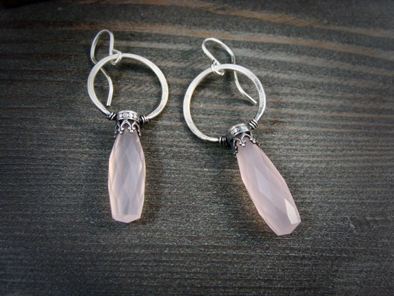 rose quartz lanterns dangles ...gemstone earrings, sterling silver dangles, rose quartz jewelry, rose quarts hoops, Art Deco jewelry, gifts