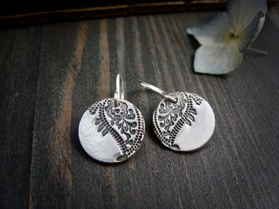 paisley earrings...sterling silver dangles, imprinted jewelry,oxidized silver, gifts for her