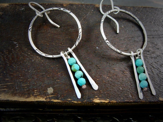 turquoise hoops.. Turquoise dangles, turquoise earrings, turquoise dangles, silversmith earrings, siren jewels, gifts for her,
