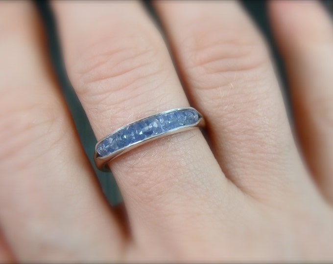 tanzanite stacking ring.. gemstone ring, sterling silver stack ring, handmade ring, tanzanite gemstone ring, rings for women, gifts for her