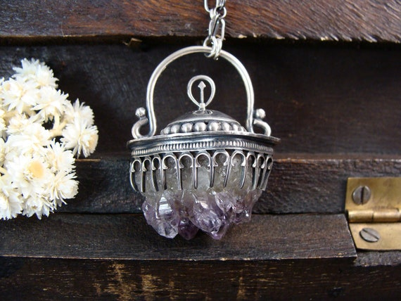 raw amethyst pendulum pendant.. sterling silver pendant, statement jewelry, large gemstone pendant, gifts for her, handmade jewelry
