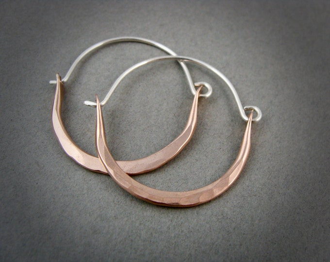 large minimalist ... mixed metal sterling and rose gold hoops, handmade jewelry, gifts for her