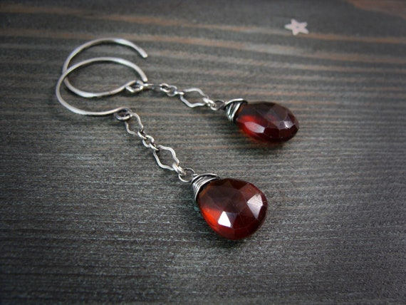 garnet dangles.. garnet dangles, garnet jewelry, garnet earrings, sterling garnet earrings, December birthstone jewelry, gifts