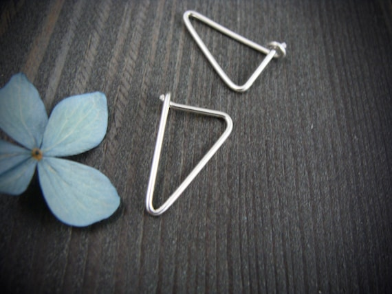 simple geometry ... sterling silver earrings, geometric earrings, simple earrings, gifts for her
