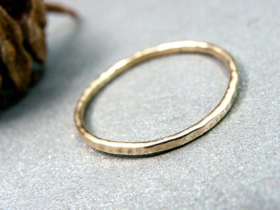 petite solid 14k gold stack ring, hammered gold ring, gifts for her